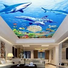 details zu 3d sea sharks fish mural wallpaper living room ceiling bedroom school