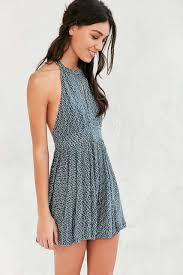 ecote patterned high neck keyhole romper urban outfitters