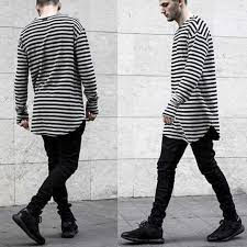Men T Shirt Long Sleeve Swag Mens Shirts Fashion Striped Cotton Curved Hem Bottoming Comfortable Hiphop Clothes For