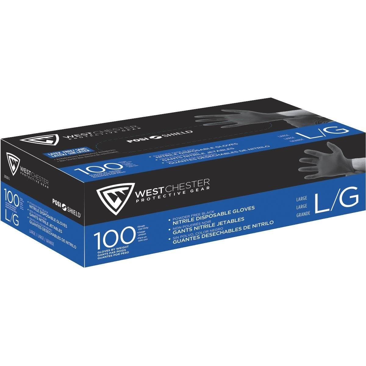 West Chester 2920/l Nitrile Powder Disposable Gloves - Black, Large