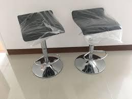 Black Bar Stool High Swivel Chair Adjustable Height