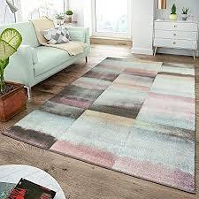 moderner teppich wohnzimmer teppiche karos pastell türkis rosa anthrazit multicolor größe 60x100 cm