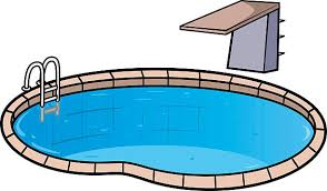 Illustration Of Swimming Pool And Diving Board Vector Art
