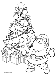 Christmas Tree With Santa Coloring Page