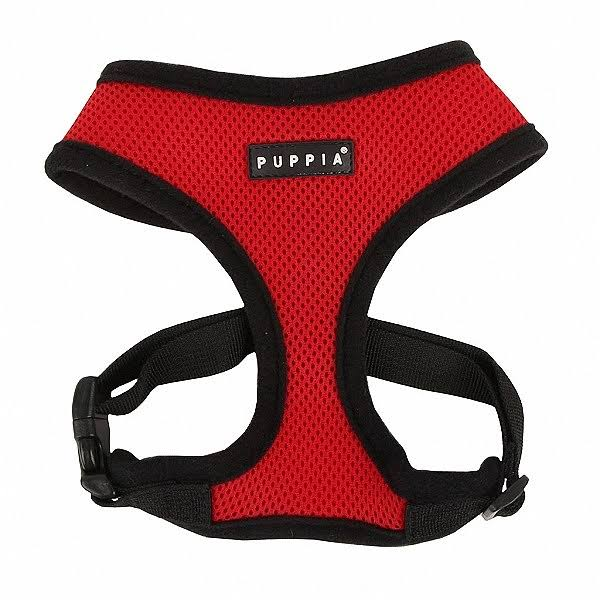 Authentic Puppia Soft Mesh Dog Harness - Red, Large