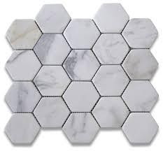 12 25 x10 75 calacatta gold hexagon mosaic tile tumbled chip