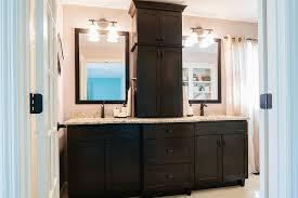 Bathroom Vanity Tower Cabinet by Custom Double Vanity With Center Tower Double Vanity Vanities