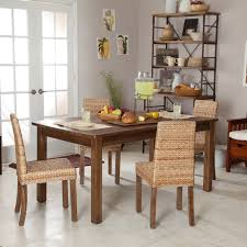 Furniture Brown Rattan Dining Room Chair With Wooden Legs Connected By Rectangle