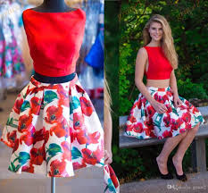 print floral homecoming dresses 2017 with red satin top and petal