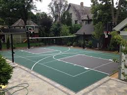 Backyard Basketball Court Installation In Chicago, IL Multisport Backyard Court System Synlawn Photo Gallery Basketball Surfaces Las Vegas Nv Bench At Base Of Court Outside Transformation In The Name Sketball How To Make A Diy Triyaecom Asphalt In Various Design Home Southern California Dimeions Design And Ideas House Bar And Grill College Park Half With Hill