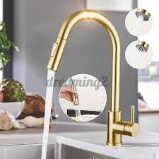 Kitchen Faucet Water Luxury Brushed Gold Kitchen Faucet Sensor Pull Out Sink Faucet 2 Water Pipes