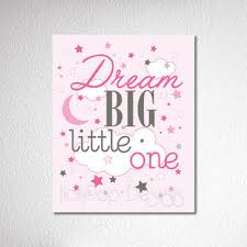 Nursery Wall Decor Dream Big Little One Quote Baby Girl Art Pink Inspirational Artwork For