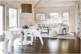 White Furniture Open Space Modern Small Living Dining Room Combo Design