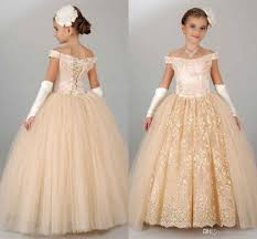 2016 new cheap champagne girls pageant dresses teens off shoulder