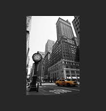 tableau déco toile taxi jaune de new york fond noir et blanc