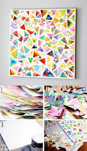 Easy Wall Decorations Homemade Square Mozaic Triangle Pattern Colorful Art 36 Creative Diy