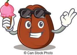 With Ice Cream Coffee Bean Character Cartoon