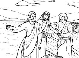 Jesus Tells Disciple To Fish In Miracles Of Coloring Page