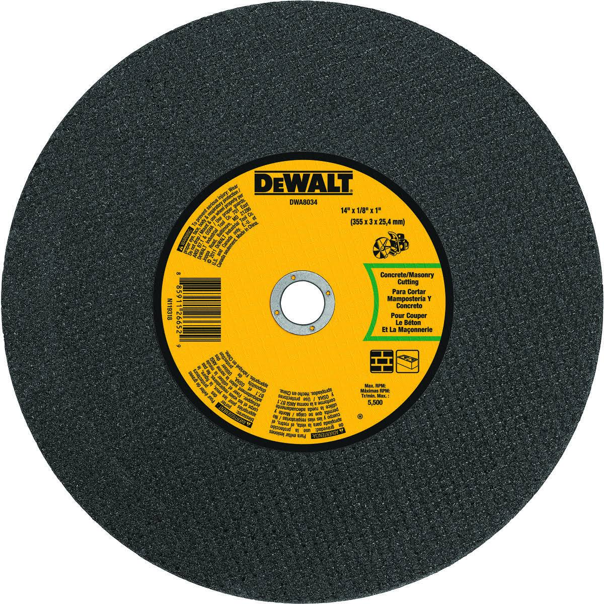 "Dewalt Masonry Portable Saw Cut-Off Wheel - 14""x1/8"""