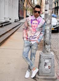 men u0027s pink print crew neck sweater white dress shirt light blue