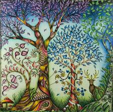 Johanna Basford Trees From Enchanted Forest Colored By Wen Z De DC This Absolutely Beautiful Colouring Book