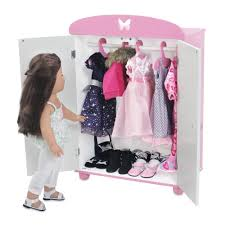 Amazon.com: 18 Inch Doll Furniture   Beautiful Pink And White ... Sheilas Fniture And Crafts Made Pieces For Reese 18 Doll Armoire Victorian Wardrobe Storage Trunk American Girl American Doll Clothes Closet Roselawnlutheran Ana White For Diy Projects Impressive Unfinished Dollhouse 116 Wood Closetarmoire Amazoncom Inch Wish Crown Closet Our Generation Pink Lil