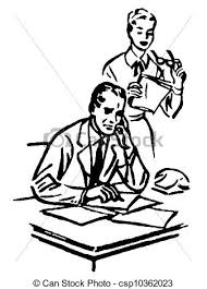 A Black And White Version Of Businessman Working At His Desk With Secretary Standing Over Him Stock Illustration