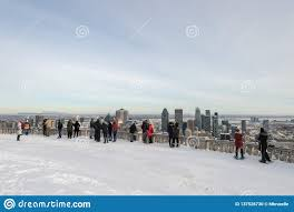100 Belvedere Canada Tourists Looking At Montreal Skyline From Ondiaronk