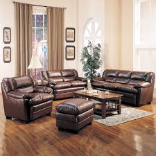 Cream Living Room Sets Vintage Set Up With Dark Brown Leather Sofa And