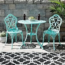 turquoise fleur de lis cast iron bistro set kirklands
