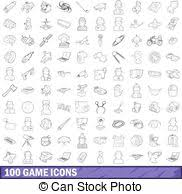 100 Game Icons Set Outline Style