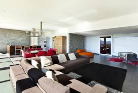 Living Room Featuring Ultra Modern Look Contrast Is A Major Theme With White Walls