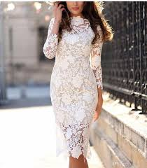 2017 2017 summer women white lace dresses bodycon floral crochet