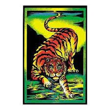 Tiger Prowling Blacklight Poster Art Print