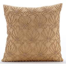 Gold Throw Pillows for Bed 20x20 Pillow Covers Taffeta Embroidered