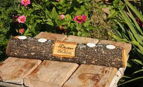 Rustic Log Holder Custom Names Centerpiece 20 Inch 4 Candle