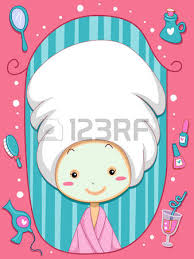 Frame Illustration Of A Little Girl Wearing Bathrobe And Towel Over Her Head