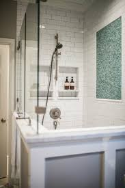 his and hers shower niches transitional bathroom