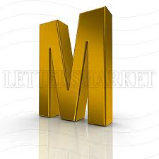LettersMarket 3D gold Letter M isolated on a white background