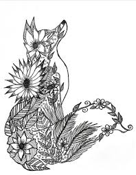 Stylist Design Ideas Fox Animal Coloring Pages Adult Page More