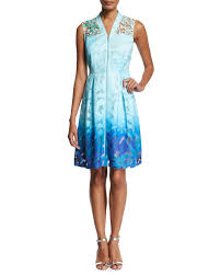 Tahari Home Lamps Crystal by Elie Tahari Kalli Sleeveless Zip Front Ombre Lace Dress Light