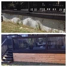 Metal Deck Skirting Ideas by Lattice Alternative Under The Deck So Easy Modern Backyard