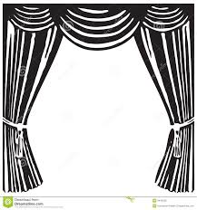 Stage Curtain Black And White Clipart