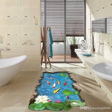 großhandel bunte fische pool 3d boden aufkleber diy gebrochen wandbild tapete für wohnzimmer badezimmer dekoration carrierxia 4 14 auf
