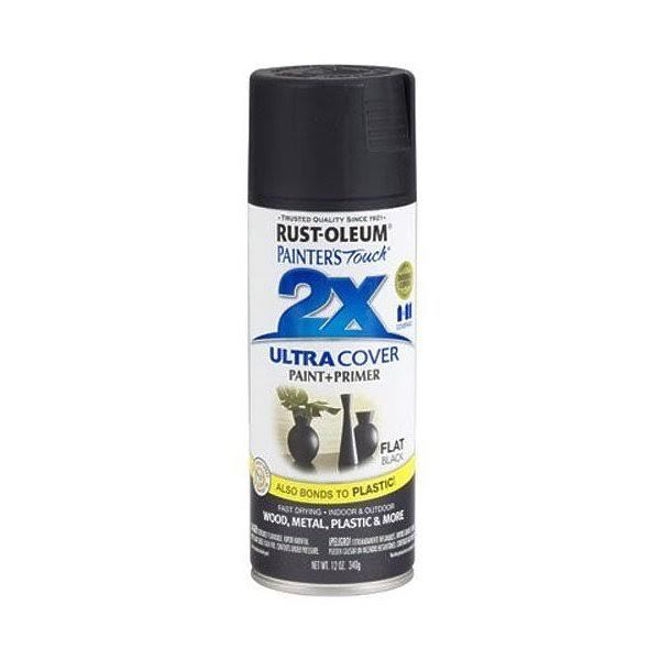Rust Oleum Painter's Touch 2X Multipurpose Paint, Flat Black - 12 oz can