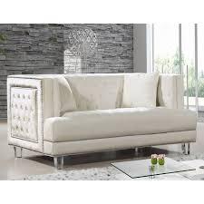 Tufted Velvet Sofa Bed by Meridian Furniture 609cream L Lucas Cream Tufted Velvet Loveseat W