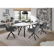 esszimmer set 7 tlg den haag 119 4 6 personen esstisch erweiterbar auf 225 cm white glas armlehnenstühle samtoptik grau mit