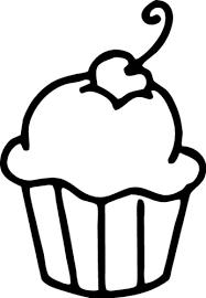 Cherry Cupcake Black and White Clipart
