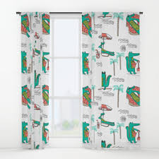 Tropical Window Art Curtains by Cali Window Curtains Society6