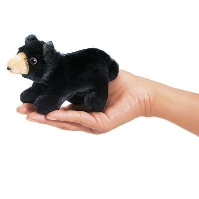 Folkmanis Mini Bear Plush Finger Puppet - Black